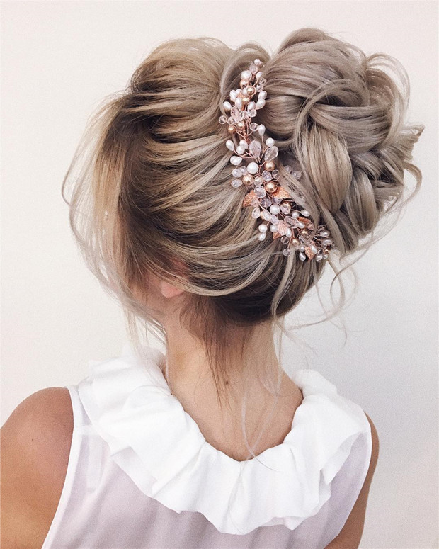 30 Beach Wedding Hairstyles Ideas Designs: 40 Elegant Messy Updo Wedding Hairstyles Perfect For Bride